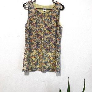 Cabi Green Floral Tiered Sleeveless Blouse